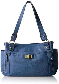 Bueno of California Faux Leather Veg Tan Tote Med Blue