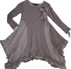 Grey Knit Asymmetrical Gored Hem Polka Dot Girls Dress