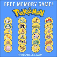 Free Birthday Party Character Printables – Printables for Kids Parties & Games Pokemon Birthday, Pokemon Party, Kids Party Games, Game Party, Party Expert, Party Characters, Memory Games, Birthday Parties, 7th Birthday