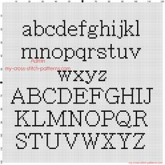 Cross stitch alphabet Batang all letters free pattern download
