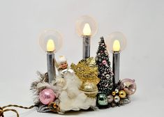 Vintage Christmas Candolier Repurposed Electric Candle Trio Feather Angel, Christmas Tree, Glass Ornaments, Foil Leaves Shabby Christmas