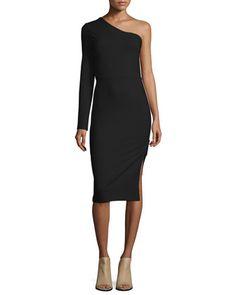 One-Sleeve+Side+Zip+Ponte+Dress,+Black+at+CUSP.