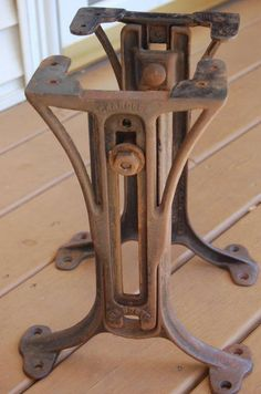 Early 20th Century Vintage Industrial Ornamental Cast Iron Bradley Stencil  Machine Base With Refinished Pine Wood Table Top | Apothecary Chic |  Pinterest ...