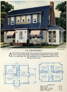 1928 Home Builders Catalog - The Cronhardt, I love Dutch Colonial American Home Design, Vintage House Plans, Vintage Homes, Dutch Colonial Homes, Farmhouse Floor Plans, Farmhouse Renovation, Sims House Plans, Home Design Floor Plans, Architecture Plan