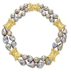 A TWO STRAND CULTURED PEARL, DIAMOND AND GOLD NECKLACE, BY DAVID WEBB  Designed as two strands of cultured baroque gray pearls, spaced by circular-cut diamond and sculpted 18k gold plaques, mounted in 18k gold
