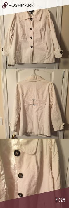 Lane Bryant White Corduroy Jacket Lane Bryant White Corduroy Jacket. Size 22/24. Lightly used for one season. In great shape. Very cute on. Pockets on front are working pockets. Lane Bryant Jackets & Coats Pea Coats