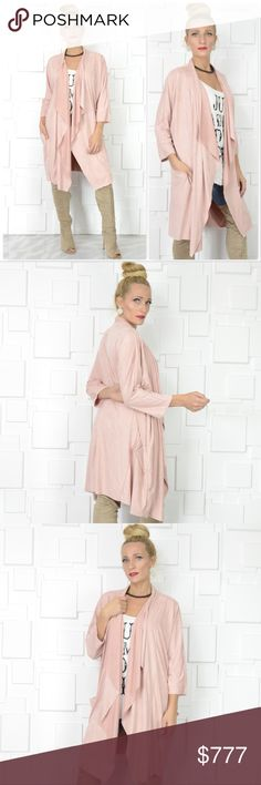 "BLUSH PINK FAUX SUEDE DUSTER CARDIGAN Brand new, Boutique item  **MORE COLORS AVAILABLE** LOVELY blush pink faux suede draped duster cardigan! It's perfect for the season featuring soft to the touch faux suede and pockets. This piece is easy to pair with your favorite jeans and top!!  True to size Fabric Content: 90% POLYESTER 10% SPANDEX Made in the USA  ""Also available in rusty orange and navy blue* pic #4 . Tops"