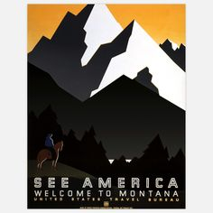 Fab.com   See America Montana 17x22  Love that these WPA posters.
