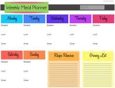 Weekly meal planner template..