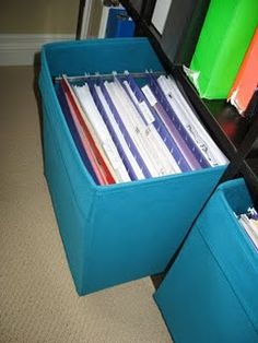 What a great idea! Put filing frames into Drono boxes (from IKEA), then you can use your Expedit for filing too!!