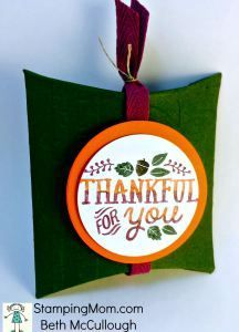 Stampin Up Square Pillow Box Thinlits Dies Thankful box designed by demo Beth McCullough.  Please see more card and gift ideas at www.stampingmom.com #StampingMom
