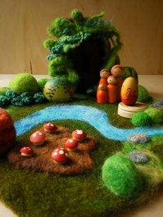 Waldorf Wool Playmat/Playscape - Love these little scenes, what must it do for/to a child's mind to work things out with these?