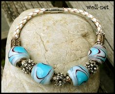 Armband, Echt-Leder, European-Beads, by https://www.woll-net.de/