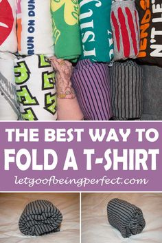 Folding T-Shirts the Best Way So You Can See All Your Shirts - Fold your t-shirts in the drawer like a boss - so you can see every t-shirt you own, and keep it organized. #cleaning #organizing #organize #organization #folding #laundry-hacks A step-by-step tutorial on how to efficently fold your shirts in an upright position. Explore the web site for more refashioning tutorials, dozens of cute refashionista and fashion ideas. http://letgoofbeingperfect.com