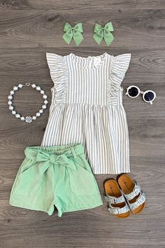 Stripe Mint Corduroy Short Set- RESTOCKED! Baby Outfits, Little Girl Outfits, Little Girl Fashion, Toddler Girl Outfits, Toddler Fashion, Kids Outfits, Kids Fashion, Toddler Girls Clothes, Fashion 1920s