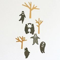 Dancing Bears and trees mobile. The Mobile needs assembling. Colour options: Black and Brown. Comes with a hook for hanging and thread. A Hook, Black And Brown, Dance, Mobiles, Character, Bears, Color, Phones, Trees