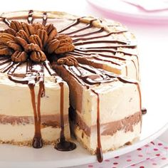 Doesn't look quite as amazing as my mom's turtle ice cream cake, but close. Chocolate Pecan Ice Cream Torte Recipe