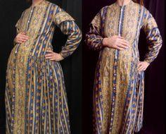 Victorian Maternity Dress | ... antique victorian pre civil war calico cotton print maternity dress