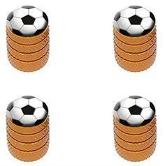 "(4 Count) Cool and Custom ""Diamond Etching Soccer Ball Top with Easy Grip Texture"" Tire Wheel Rim Air Valve Stem Dust Cap Seal Made of Genuine Anodized Aluminum Metal {Orange, Black, and White Colors} mySimple Products http://www.amazon.com/dp/B014K0N5CU/ref=cm_sw_r_pi_dp_awSJwb1ZP7YMV"