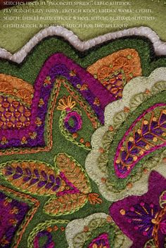 """Wool applique PATTERN KIT """"Jacobean Spring"""" table runner hand dyed rug hooking wool felt felted wool fabric embroidery paisley 23 x Wool Applique Quilts, Wool Applique Patterns, Wool Quilts, Felt Applique, Crewel Embroidery, Wool Fabric, Fabric Art, Embroidery Patterns, Quilt Patterns"""