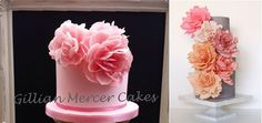 wafer paper flowers by Gillian Mercer Cakes left and Miso Bakes right via The Cake Blog