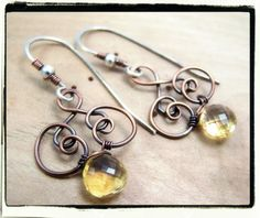 056 Antique Copper AAA Yellow Citrine Wire Wrapped Dangle Earrings