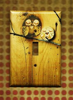 switchplate cover. for me, the owls are optional; i just love the natural wood grain look Switch Plate Covers, Switch Plates, Little Owl, Cute Owl, Ideal Home, Dream Decor, My Dream Home, Owls, Red Slippers