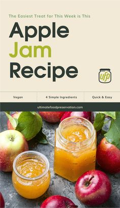 Vegan Gluten free Apple Jam canning recipe · There's a reason apples are one of the most versatile fruit on earth and this Apple Jam is just the proof you need. Get the recipe today! #canning #foodpreservation #preserving #homecanning #canningrecipes #recipe #canning #canningrecipes Apple Recipes Easy, Jam Recipes, Jelly Recipes, Canning Recipes, Recipies, Apple Jam, Coleslaw Recipe Easy, Strawberry Jam Recipe, Jam And Jelly