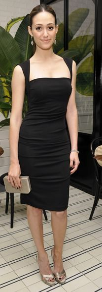 Who made Emmy Rossum's black dress that she wore in Beverly Hills on January 18, 2012?