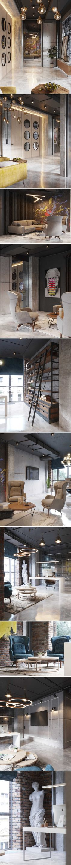 New project for office spaces loft style - Галерея Interior Exterior, Modern Interior, Interior Architecture, Interior Design, Wooden Wall Cladding, Design Industrial, Loft Style, Office Spaces, Fashion Room