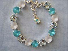 Swarovski Crystal Bright Turquoise Blue Tennis Bracelet, 8mm bracelet, bridesmaid gift, bridesmaid bracelet, blue wedding, turquoise wedding by PipersCrystalDesigns on Etsy https://www.etsy.com/listing/221339028/swarovski-crystal-bright-turquoise-blue