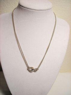 "Tiffany Infinity Figure 8 Silver Necklace Pendant Double Chain 15"" #TiffanyCo #Chain"