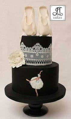 Black and white ballet cake