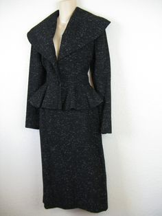 1940's lilli ann new look skirt suit. black and by cricketcapers
