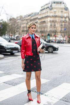 Try leather for warmer days by opting for a brightly-hued piece to pair with a printed mini frock.