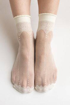 Your place to buy and sell all things handmade Women New Hezwagarcia HOT Sheer Crwon Cover Lace See Through Casual Ivory Ankle Socks Stocking Hosiery Sheer Socks, Lace Socks, Ankle Socks, High Socks, Women's Socks, Looks Style, My Style, Look Fashion, Womens Fashion