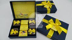 Convite de Padrinhos: Casamento azul e amarelo...alegre e sofisticado!