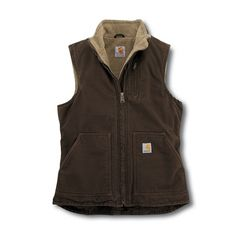 Carhartt WV001 - Carhartt Women's Sandstone Mock Neck Vest - Sherpa Lined at Dungarees Carhart Store