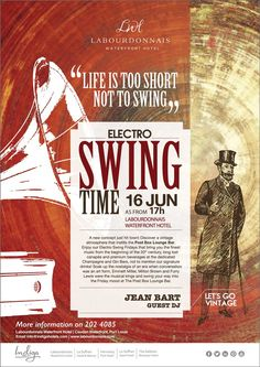 Labourdonnais Waterfront Hotel: Electro Swing Time – Friday 16 June. Tel: 202 4085