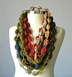 Winter scarf Crochet Infinity scarf bubble fiber by yarnisland, $14.00