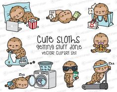 Check out our sloth selection for the very best in unique or custom, handmade pieces from our shops. Baby Sloth, Cute Sloth, Animal Drawings, Cute Drawings, Totoro, Vector Clipart, Rainbow Colors, Planner Stickers, Cute Art