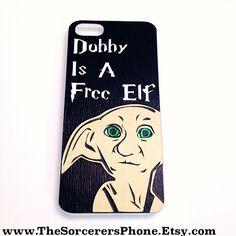 "HANDMADE  ""Dobby House Elf Inspired"" Free Elf! iPhone 4 / 4s Phone Case ""Harry Potter inspired"" Mod Podge cover Harry Potter Gift 5c 5s on Etsy, $23.99"