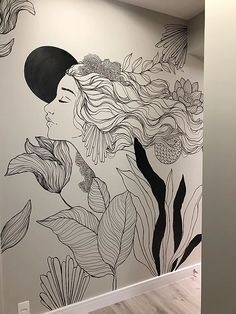 Creative Wall Painting, Wall Painting Decor, Mural Wall Art, Creative Walls, Diy Wall Art, Wall Decor, Graphisches Design, Wall Design, Deco Originale