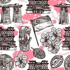 Buy Singapore Hand Drawn Sketch Seamless Pattern by macrovector on GraphicRiver. Singapore hand drawn sketch seamless pattern with orchid traditional food flag and famous architecture vector illustr. Singapore Tattoo, Singapore Art, Singapore Travel, Singapore National Day, Famous Architecture, Potholder Patterns, Bullet Journal, G Eazy, Travel Scrapbook
