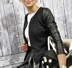 18f31360a8 Women PU Leather Casual Zip Long Sleeve Stylish Top Outwear Coat Zipper  Patchwork Jacket