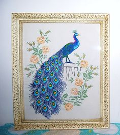 Vintage Peacock Wall Hanging by CheekyVintageCloset on Etsy, $75.00