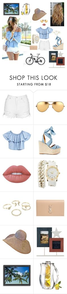 """Summer"" by kotnourka ❤ liked on Polyvore featuring Topshop, Linda Farrow, Ralph Lauren, Lime Crime, Charlotte Russe, Lipsy, Yves Saint Laurent, Americanflat, Gucci and Prodyne"