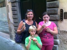 My family enjoying some cooling ice cream in Lucca