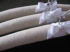 Linen Padded Hangers Natural Homespun Linen Covers with by ootch, $30.00