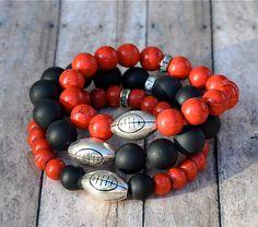 Georgia Bulldog Football Charm Beaded Bracelets